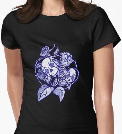 Roses & Skulls Tattoo White Womens Fitted T-Shirt