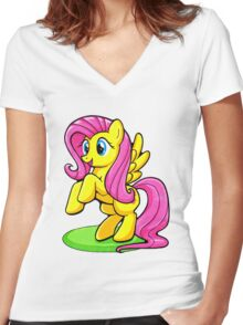 Fluttershy Bright and Sweet Women's Fitted V-Neck T-Shirt