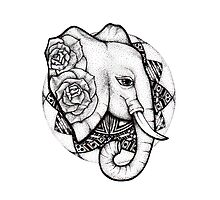 Mandala dot work elephant by litedawn