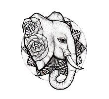 Mandala dot work elephant by litedawn