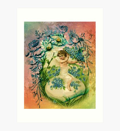 EASTER CHERUB BLESSINGS Art Print