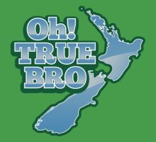 OH TRUE BRO with blue NZ New Zealand map Kids Clothes
