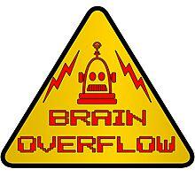Robot Brain Overflow Warning Sign  Photographic Print