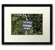 Air Raid Shelter sign Framed Print