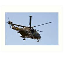Helicopter from the Danish Air Force. Art Print