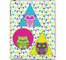 Cute sleepy owls and geometric patterns iPad Case/Skin
