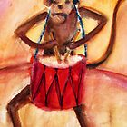 Drum and Monkey watercolour by BonniePortraits