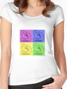 Pokemon Ninetales Pop Art Quad Women's Fitted Scoop T-Shirt