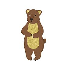 Little brown bear on the white background by sky-lantern