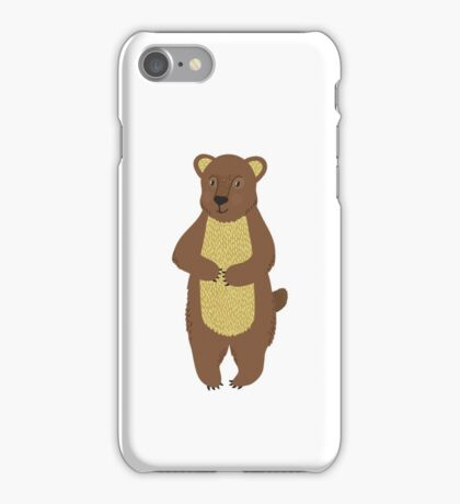 Little brown bear on the white background iPhone Case/Skin