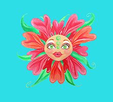Flower with a Matryoshka Doll Face by Almonda