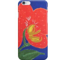 red flower blue background  iPhone Case/Skin