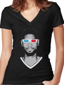 Tim 3D Women's Fitted V-Neck T-Shirt