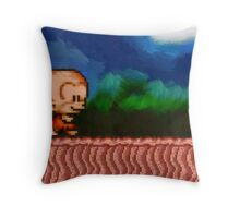 Bonk / BC Kid retro painted pixel art Throw Pillow