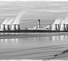 Fiddlers Ferry Ebbing Tide BW by DavidWHughes