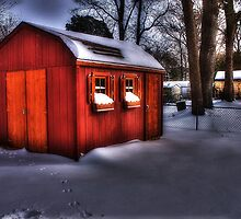 Red Barn, White Snow by dwillzcameraman