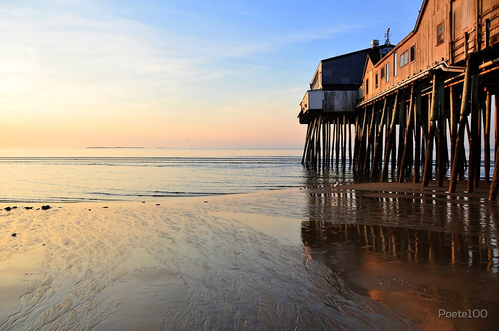 Pastel Sunrise at Old Orchard Beach Pier by Poete100