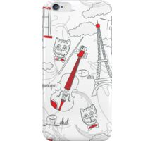 White  pattern with music and city iPhone Case/Skin