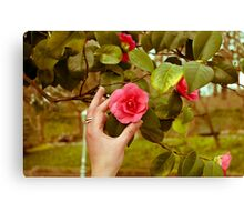 Hand and Camellia Canvas Print