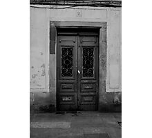 Old door black and white Photographic Print