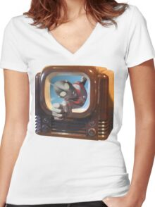 Ultra TV Time Women's Fitted V-Neck T-Shirt