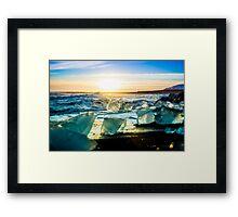 Jökulsárlón Beach at Sunset Framed Print