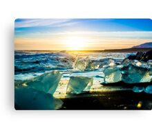 Jökulsárlón Beach at Sunset Canvas Print