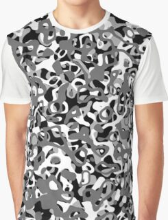 Multi Layer Abstract Pattern Grey Graphic T-Shirt