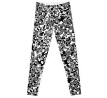 Multi Layer Abstract Pattern Grey Leggings