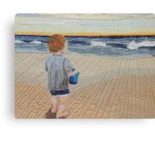 Boy on the beach Canvas Print