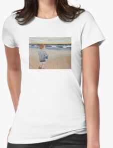 Boy on the beach Womens Fitted T-Shirt