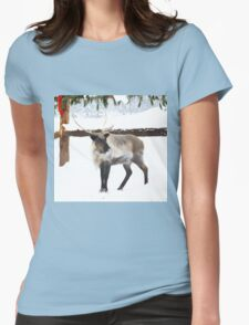 Reindeer for Christmas. Womens Fitted T-Shirt