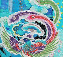 Textile Art, Blue Phoenix, fabric collage by Bekahdu