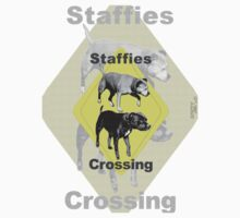 Staffies Crossing Sign by amanda metalcat