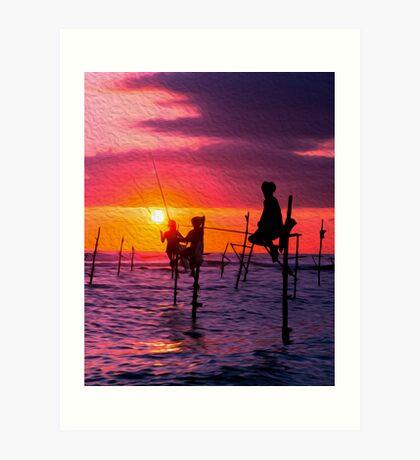 Traditional Fisherman in Sri Lanka Art Print