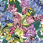 Bright spring pattern with tulips and hydrangea by SolomatinaY