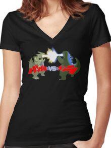 Tyranitar VS Godzilla Women's Fitted V-Neck T-Shirt