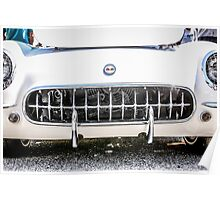 White 50s Chevy Corvette Grill Poster