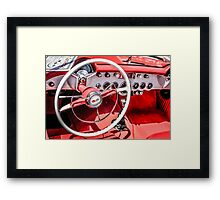 Chevy Corvette Red leather Interior Framed Print