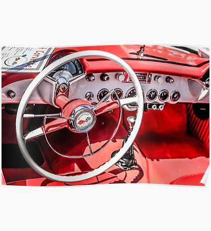 Chevy Corvette Red leather Interior Poster