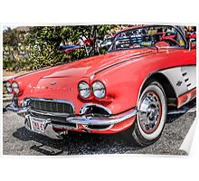 Red 1960s Chevy Corvette Poster