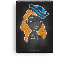Chalk Board Tattoos - Pin Up Canvas Print