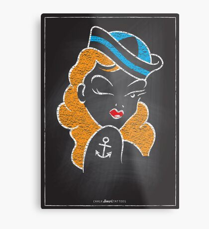 Chalk Board Tattoos - Pin Up Metal Print
