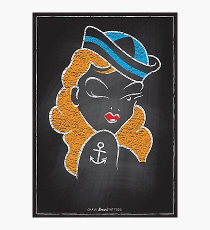 Chalk Board Tattoos - Pin Up Photographic Print