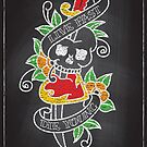 Chalk Board Tattoos - Skull by Rob Stephens