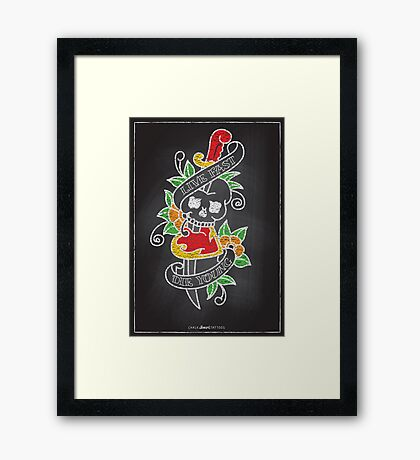 Chalk Board Tattoos - Skull Framed Print