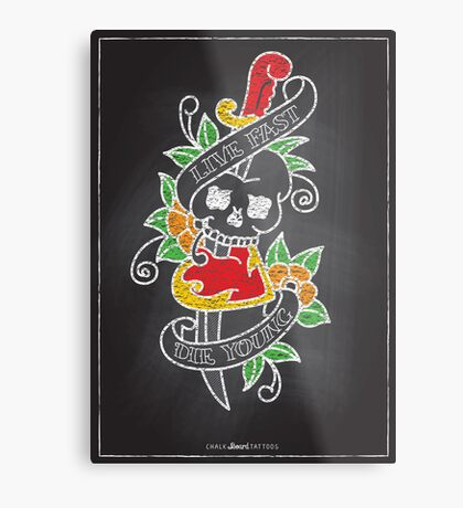 Chalk Board Tattoos - Skull Metal Print