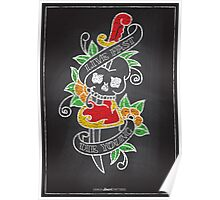 Chalk Board Tattoos - Skull Poster