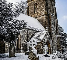 Snow covered rural church in Dorset by Chris L Smith