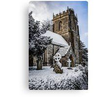 Snow covered rural church in Dorset Canvas Print